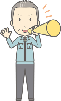 Middle-aged man work clothes - megaphone - whole body