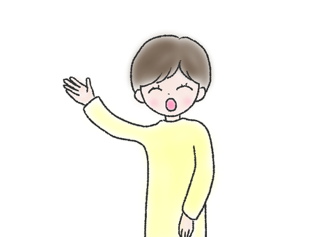 Illustration of a woman waving