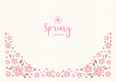 Spring background frame 010 Sakura watercolor