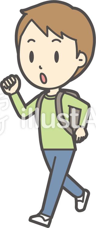 男の子グリーン長袖-285-全身のイラスト