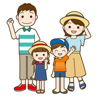 가족 4 명이 전신 (하복)