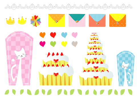 Cat letter and cake material