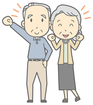 Elderly couple - Guts pose - whole body