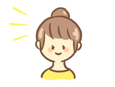 경단 머리 여성