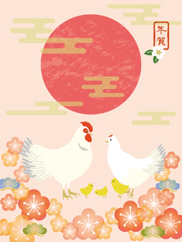 Chicken parent and child plum blossoms 1 vertical