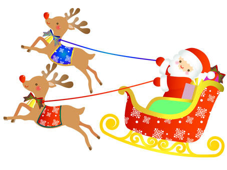 Santa, reindeer and sled