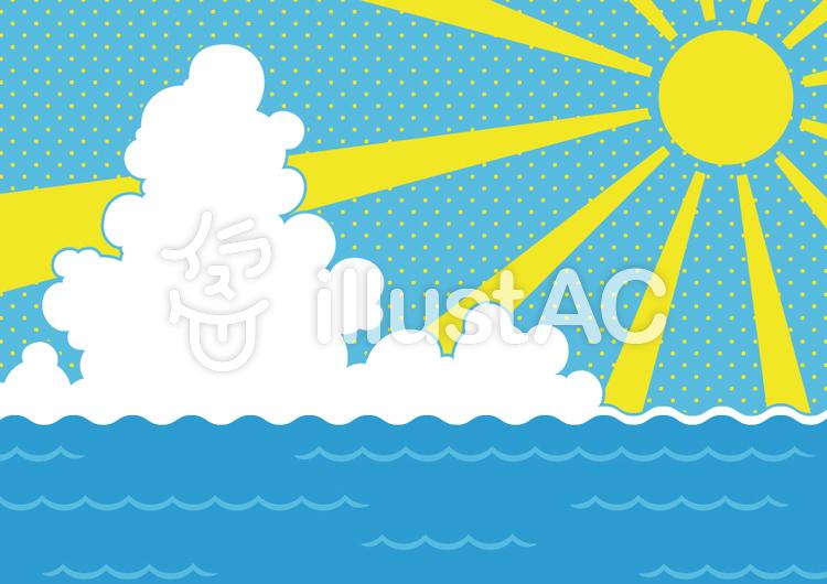 海と太陽と雲のイラスト