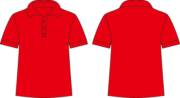 Polo shirt _ front / back _ red