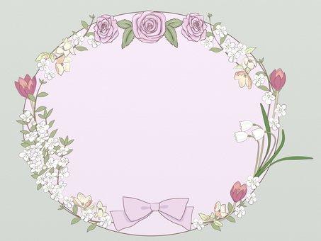 Spring flower and ribbon frame