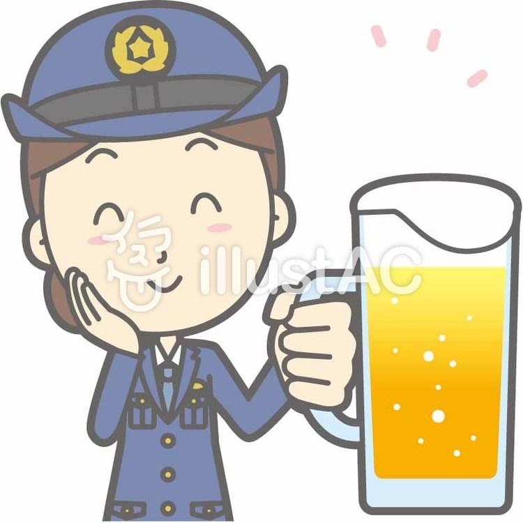 警察官女性a-ビール笑顔-バストのイラスト