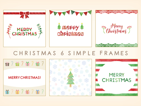 Watercolor touch simple Xmas frame 6 kinds