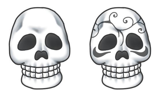 Normal skull and pattern skull