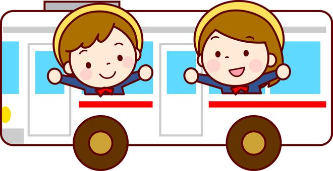 孩子在公共汽車上