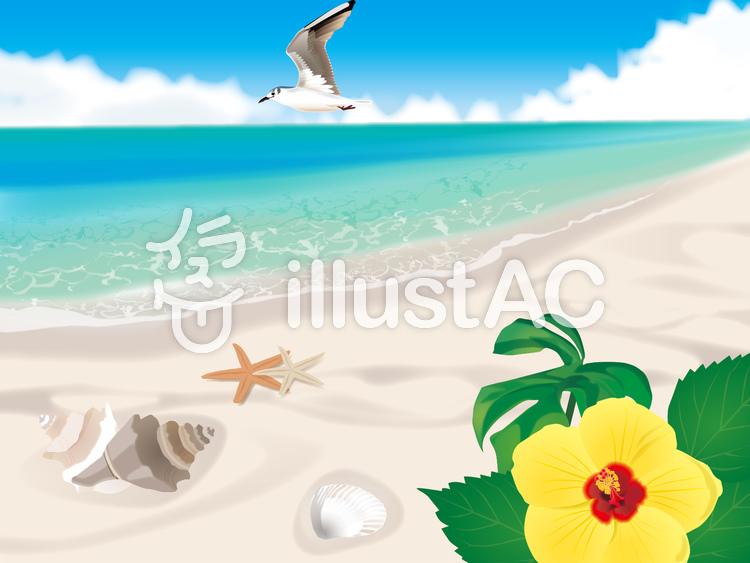 南の砂浜のイラスト