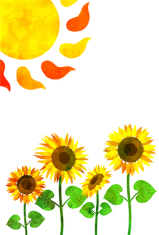 Watercolor style sunflower and sun post card transparent ant