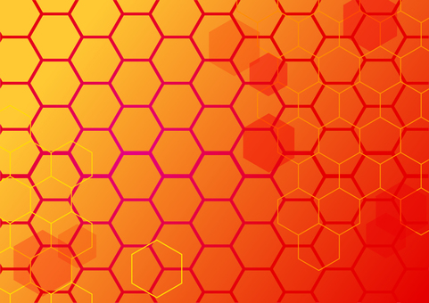 Red network hexagon abstract background material