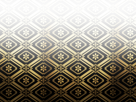A golden grid pattern and a flower pattern background on a black background