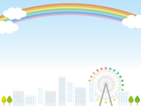 Blue sky and rainbow Ferris wheel and building landscape