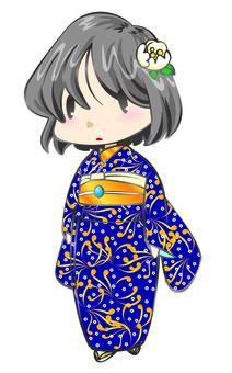 Dark blue cloth girl