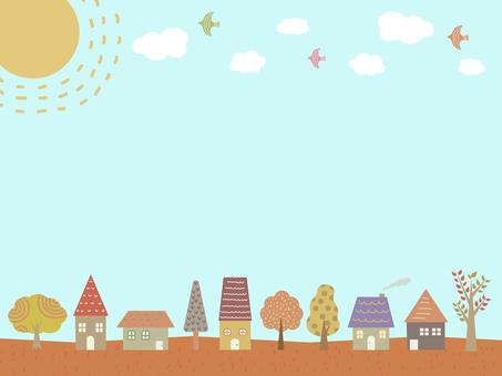 家と木のフレーム 秋