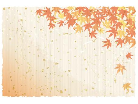 秋紅葉水彩画手書き和風イラストもみじ背景