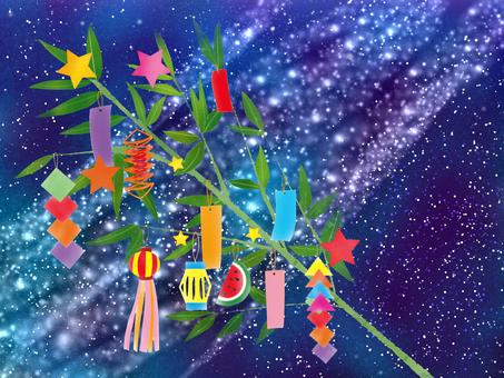 Tanabata decorative background with Milky Way