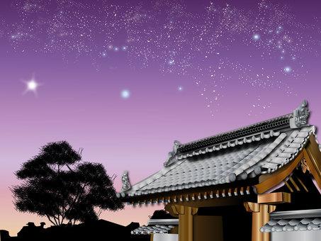 Shrine in the night sky