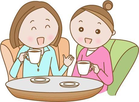 A woman tea at a cafe