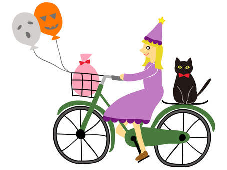 A witch on a bicycle