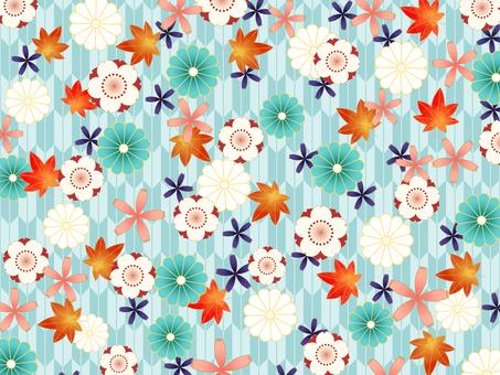 春と秋の花の和風背景素材02/青