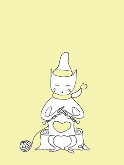 Nekosuke knitting yellow heart