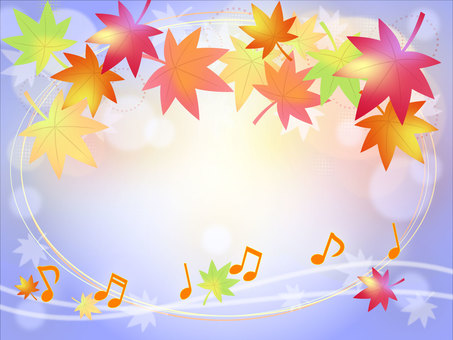 Notes and autumn leaves background Blue
