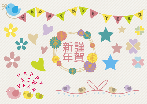 Girly New Year's card material (Rooster year)