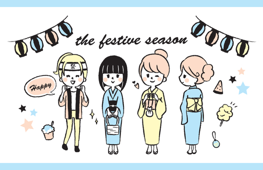 Summer festival yukata hand drawn illustration