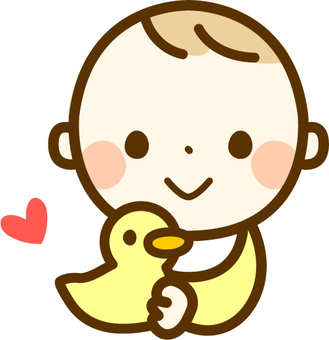 Baby with a duck doll