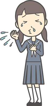 Junior high school sailor woman -051- whole body