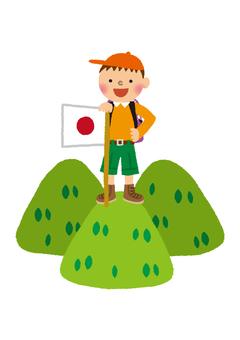 A boy climbing mountains