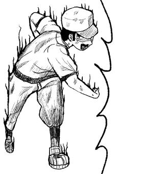 Manga balloon baseball boy