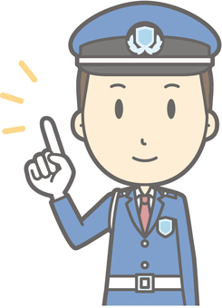 Security guard - pointing smile - bust