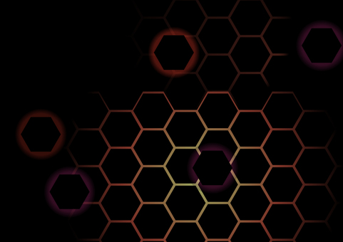 黒色の幾何学六角形赤色抽象背景素材