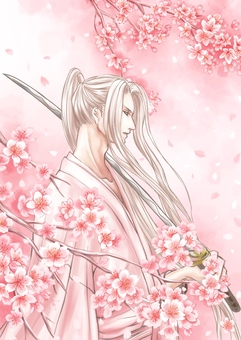 Samurai and cherry blossoms