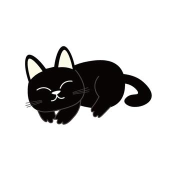 A sleeping black cat