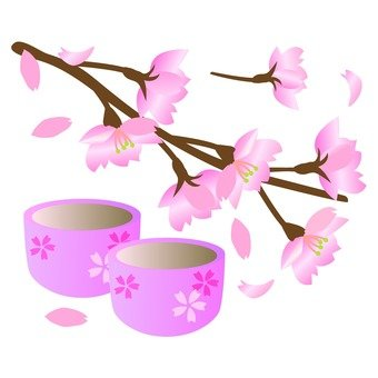 Cherry blossoms and bowls