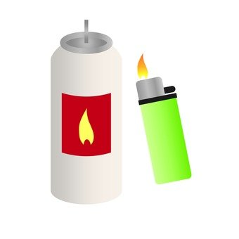 Spray can and lighter