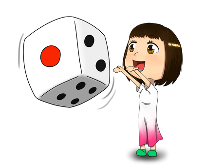 A girl who rolls a dice