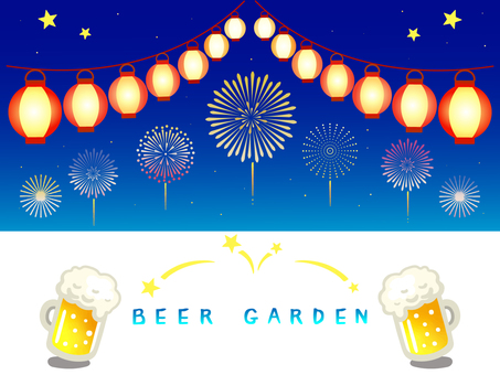 Beer garden and fireworks illustration