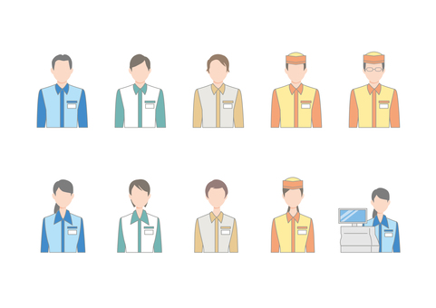 Clerk Icon Set Convenience Store