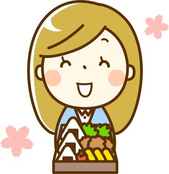有午餐盒的櫻花女人