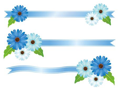Blue Gerbera Flower and Ribbon Frame 01