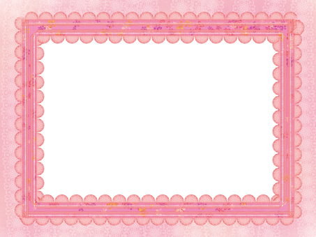Frame pink ribbon medium white